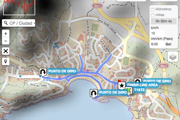 Challenge Peguera triathlon courses the Run map